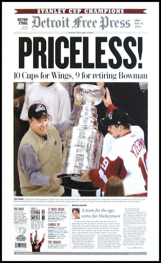 Detroit Red Wings Wood Mounted Poster Print - Yzerman - Bowman - Stanley Cup 2001-02