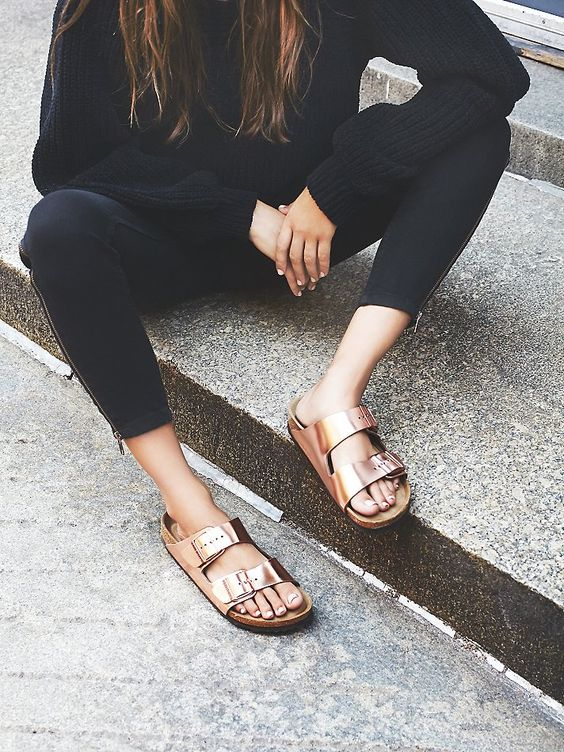 Birkenstock Arizona Metallic at Free People Clothing Boutique: