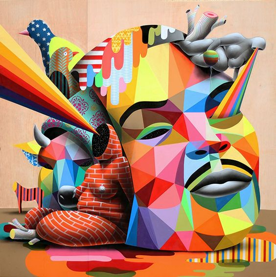 Vibrant paintings blending multicolored geometric structures with organic shapes, animals, and bodies without identity by Madrid-based multidisciplinary artist Okuda San Miguel.
