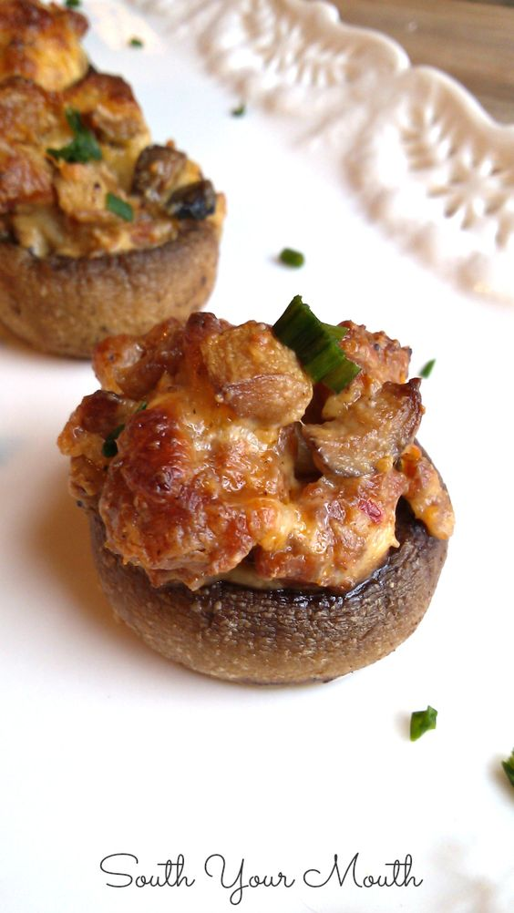 Stuffed mushrooms with Italian sausage and mozzarella. Crazy easy and ...
