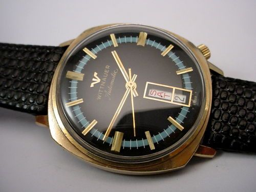 Vintage Black blue Wittnauer Automatic Day Date Gents watch Rolled Gold Plate