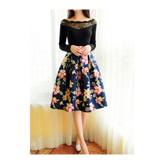 Rotita High Waist Floral Print Flare Pleated Midi Skirt (1.370 RUB ...