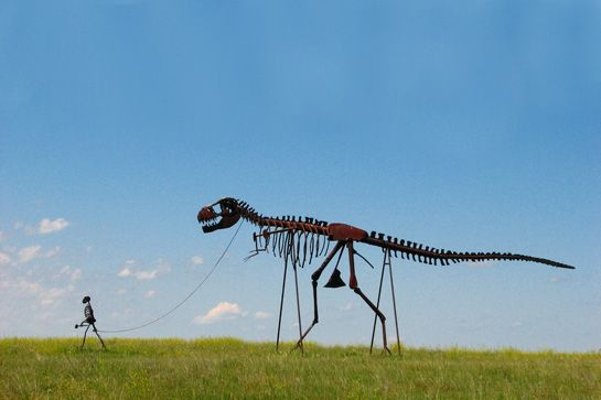 Image Detail for - Skeleton of a Man Walking A Skeleton of a Dinosaur on a Leash - Murdo ...