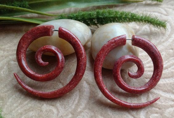 "Fake Gauge ""Medium Spirals"" Crushed Red Shell, Naturally Organic, Hand Carved, Tribal-GAH!"