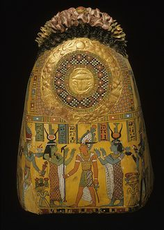 Isis, Osiris and Nephtys : scene from woman's mummy mask - Roman period (A.D. 60-70)