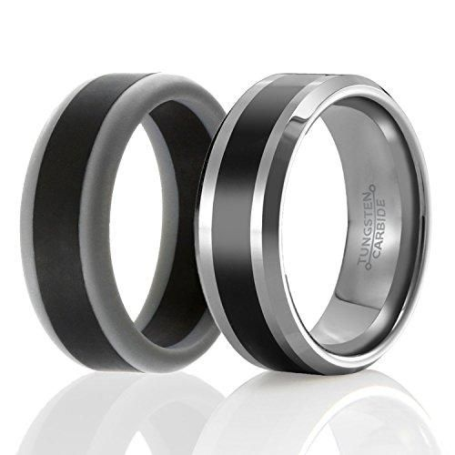Set Of 2 1 Tungsten Wedding Band And 1 Silicone Rubber Wedding Ring For Men Classic Style Rubber Rings Wedding Mens Wedding Rings Vintage Engagement Rings Sapphire