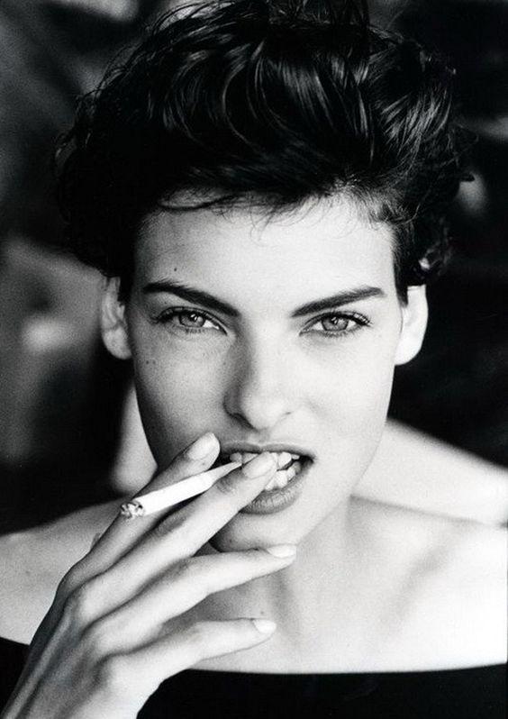 Linda Evangelista smoking.