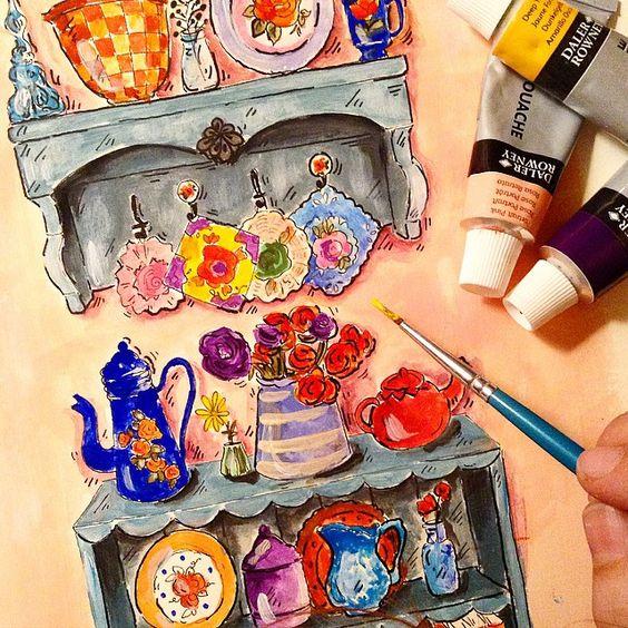 Bitmiş gibi görünüyor olabilir ama daha yapmam gereken küçük detaylar var.. Emayeleri biraz daha parlatmalıyım mesela Fırçalarımı temizledim, artık uyku vakti.. Yarın güzel bir gün olsun❤️❤️ #illustration #emaye #draw #paint #artist #art #artoftheday #instagram #suluboya #sketch #happyhome #happy #sweethome #house #decor #maison #flowers #kitchen #cute #red #artlinr #guaj #dalerrowney