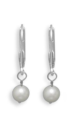 Freshwater Pearl Drop Earrings with White Gold Lever Backs