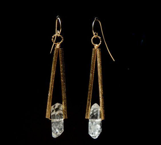 Herkimer Diamond Silk Finished Triangle Gold Tube Earrings