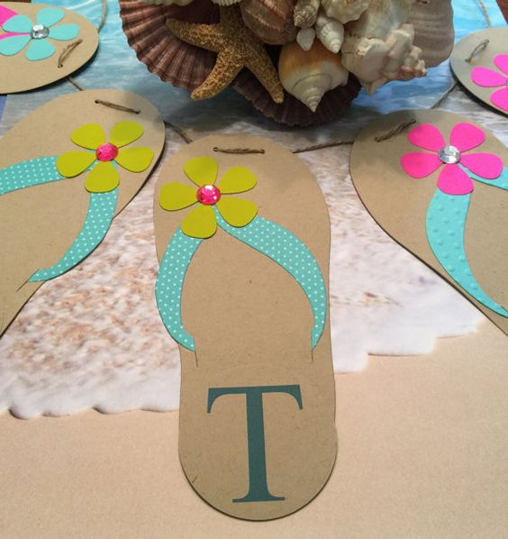 Flip Flop Banner  Pool Party Banner Beach Wedding  by ProudlyPaper