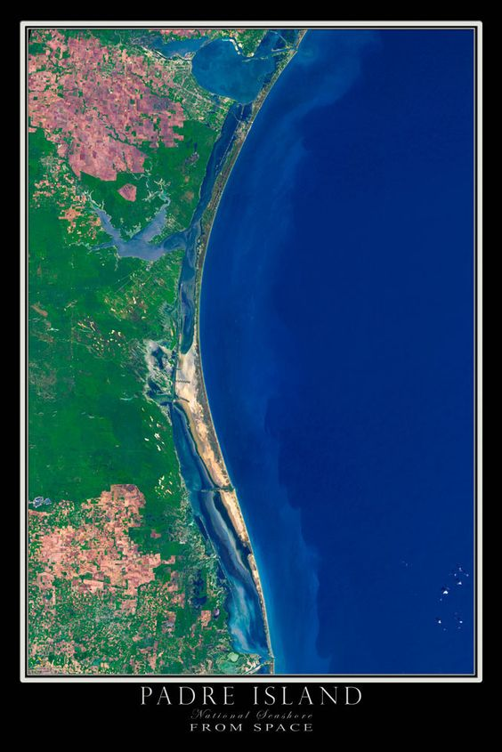 Padre Island National Seashore Texas Satellite Poster Map Texas - Satellite map of texas