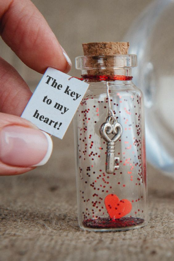Personalized Gift for Girlfriend Message in a Bottle Gift  for Boyfriend Key to my Heart Love Greeting Card for Her Unusual Card for Him I Love You Gift For Him