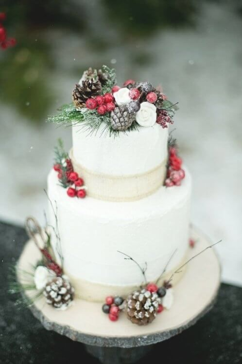 Simple Rustic Winter Wedding Cakes Ideas