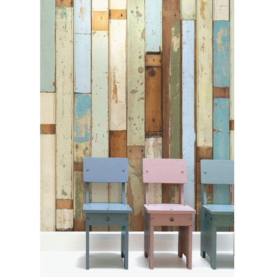 NLXL Holzbalken Tapete von Piet Hein Eek - Weiß/Beige