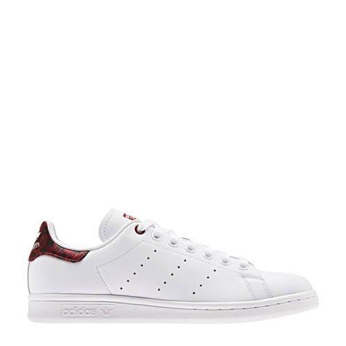 originals Stan Smith leren sneakers wit/donkerrood print ...