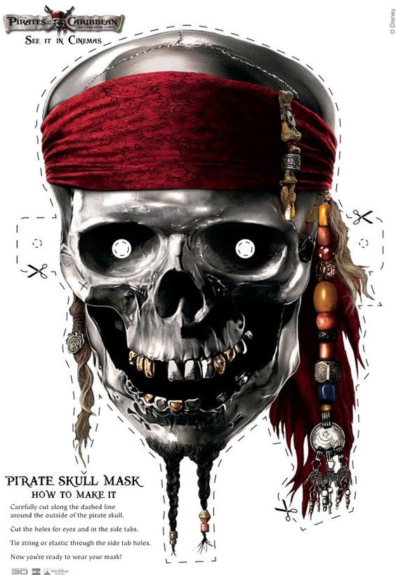Great Pirates of the Caribbean Halloween mask for kids of all ages! Free printable!