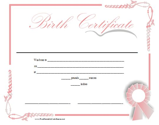 A printable birth certificate in shades of pink for a baby girl – Blank Birth Certificate Form