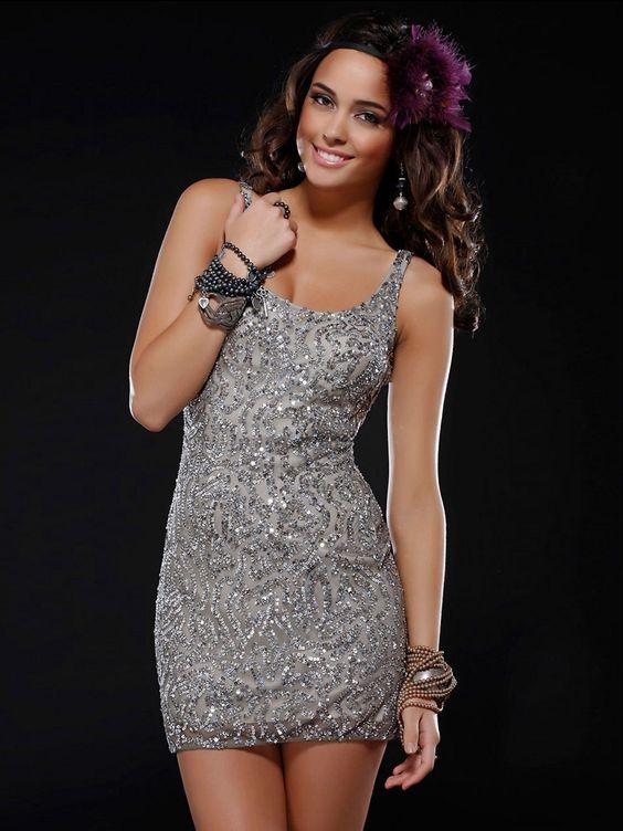 Short sleeveless Sequin Beaded Silk Dress with Natural Waistline ...