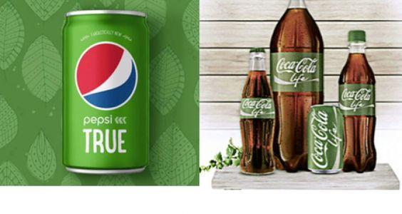 Pepsi y Coca-Cola compiten por el verde   La nueva marca, Pepsi True, cuenta con el verde como color corporativo, de la misma forma que Coca-Cola Life, que se lanzó en EEUU el pasado mes de septiembre a través de una campaña de marketing multimillonaria. Reason Why