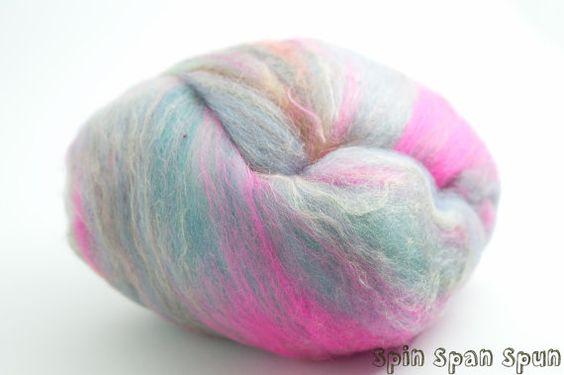 MyBatts4 set of 2 batts blend of fibers with by SpinSpanSpun