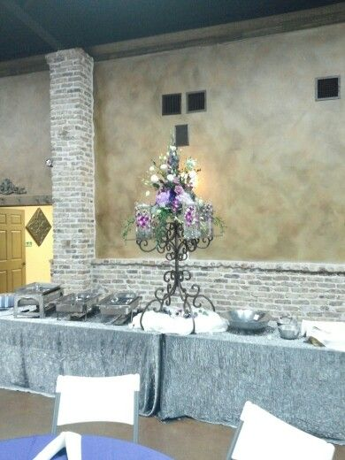 Buffet table centerpiece from recent wedding.Moonflower Cottage.