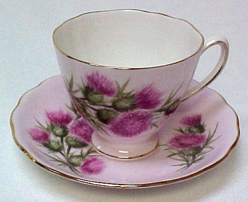 Colclough England Thistle Pink Cup and Saucer