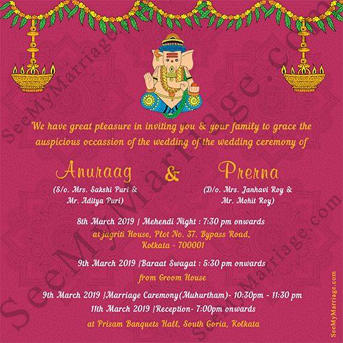 Hindu Wedding Invitation Template Luxury Pink Theme Ganesha Style With Floral Hindu Wedding Invitations Hindu Wedding Invitation Cards Wedding Invitation Maker