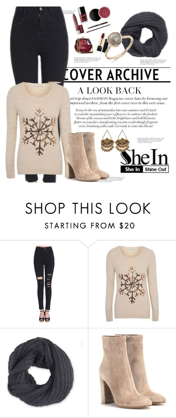 """""""Shein"""" by duso21varljiva ❤ liked on Polyvore featuring George, Frenchi, Gianvito Rossi, women's clothing, women, female, woman, misses and juniors"""