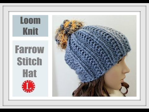 LOOM KNITTING The Farrow Stitch Beanie Hat Extra Large Round Looms - YouTube ...