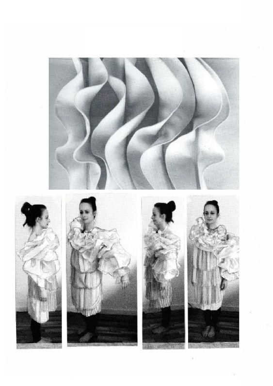 Fashion Sketchbook - fabric manipulation & ruffle sleeve design, fashion portfolio // Jasmin Ferguson