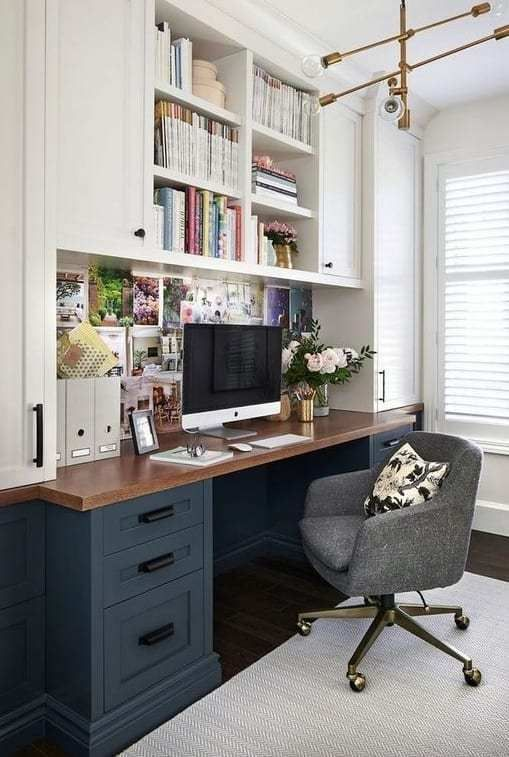 24 Home Office Ideas That Will Keep You Motivated All Day In 2021 Modern Home Office Small Apartment Office Home Office Design