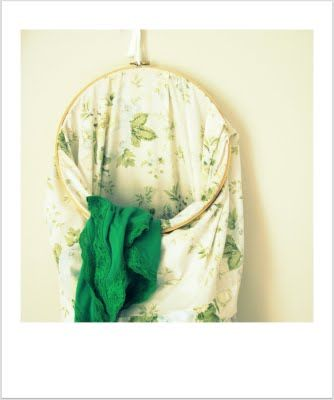 DIY Laundry Bag ... large embroidery hoop and a king size pillow case. For Dorm Room, kids bedroom, mudroom, guest bathroom, or laundry room. Match decor or bedsheets and towels.