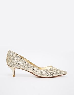 Party Wear Christmas Party Outfits Asos Gold Kitten Heels Kitten Heel Shoes Heels
