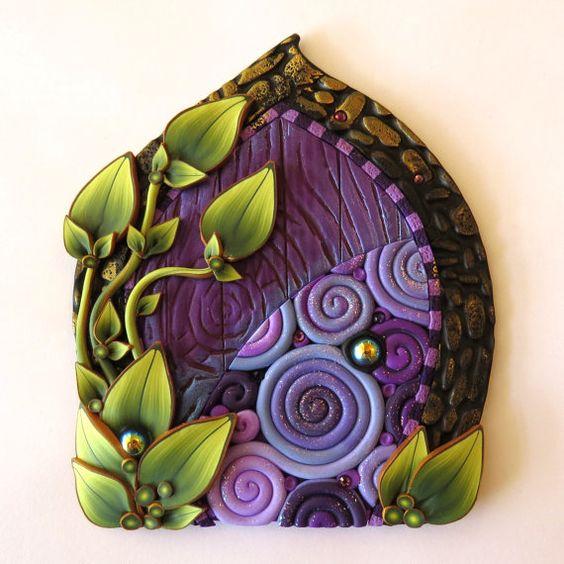 Purple Swirl Fairy Door Miniature Pixie Portal Home by Claybykim