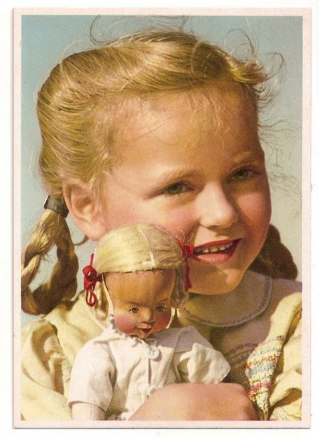 MY DOLLY & ME~1930 Postcard: