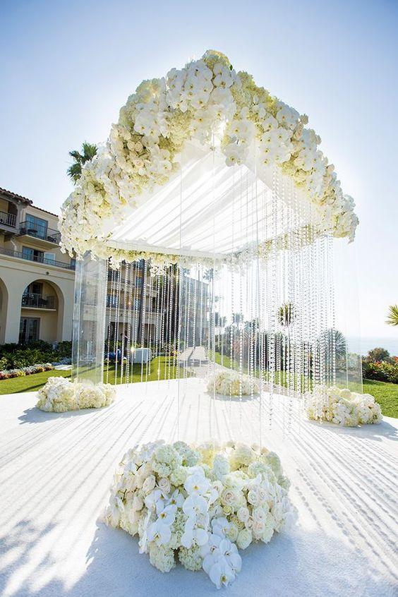 White Wedding Ceremony Decor Inspiration. White Wedding Flowers, Chuppah, Crystals