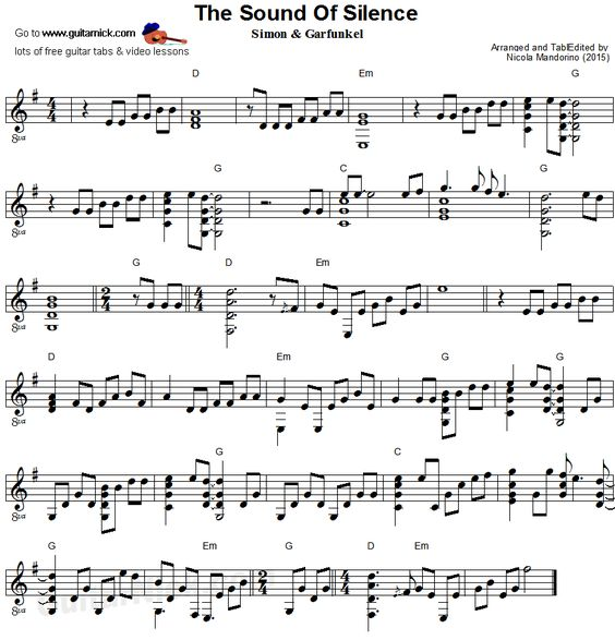 Sound Of Silence Choir Sheet Music Free Download