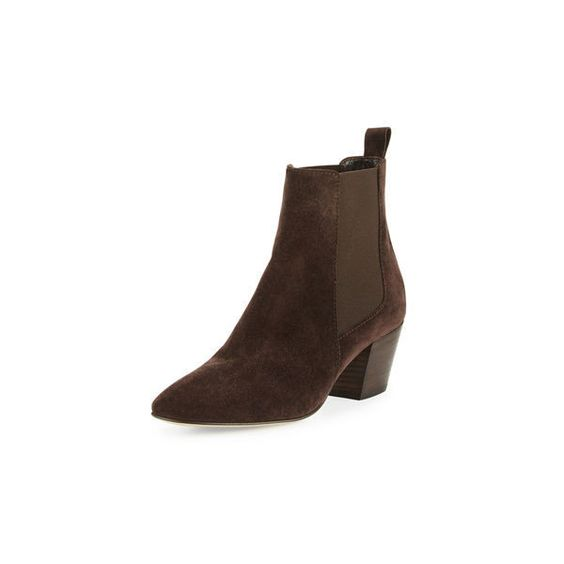 Aquatalia Freya Suede Chelsea Boot ($395) ❤ liked on Polyvore featuring shoes, boots, ankle booties, espresso, shoes booties, almond toe boots, slip on boots, beatle boots, suede ankle booties and suede chelsea boots