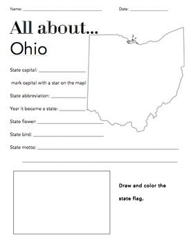 Ohio State Facts Worksheet: Elementary Version | The Ohio State ...