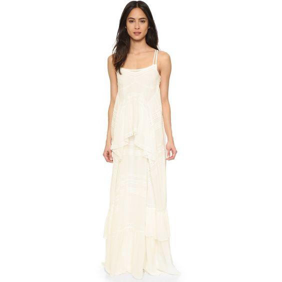 Needle & Thread Victoriana Frill Maxi Dress (270 KWD) ❤ liked on Polyvore featuring dresses, chalk, asymmetrical maxi dress, asymmetrical draped dress, flounce maxi dress, slip dress e white dress