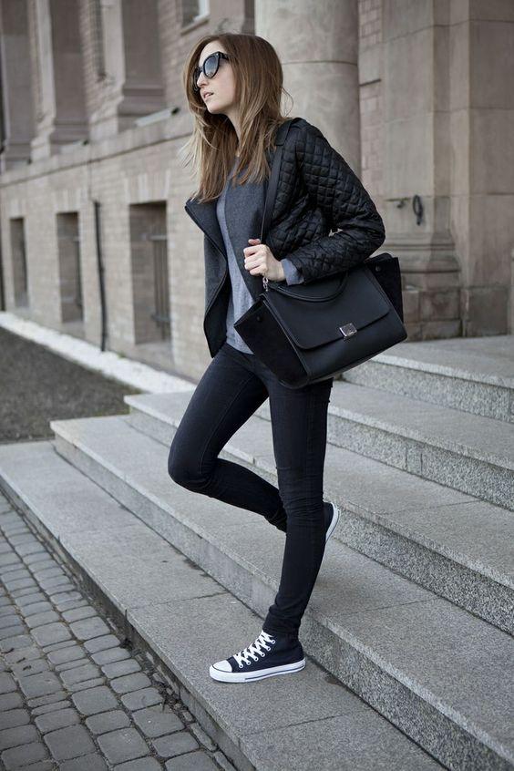 20 remera gris campera de cuero pantal n negro y - Zapatillas de trabajo ...