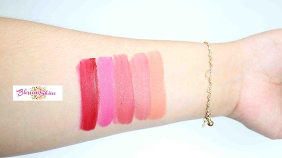 Hand Swatch Purbasari Hi-Matte Lip Cream (L-R): Freesia, Zinnia, Lantana, Azalea & Vinca