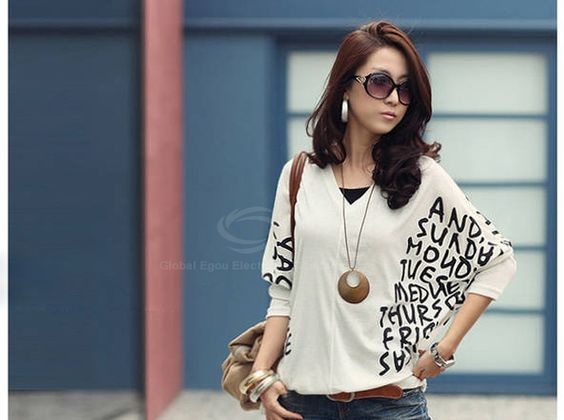 Leisure and Mix-Matched V-Neckline Batwing Long Sleeves Blouse (WHITE) | Sammydress.com