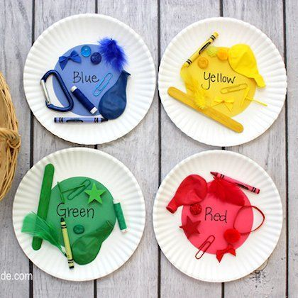 Get your nursery pupils learning colours with this idea. Put colourful items in a basket and ask them to put them on the matching plate.