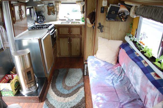 Love the lettuce, hardwood floor and Kimberly stove., Tiny living in Alaska.