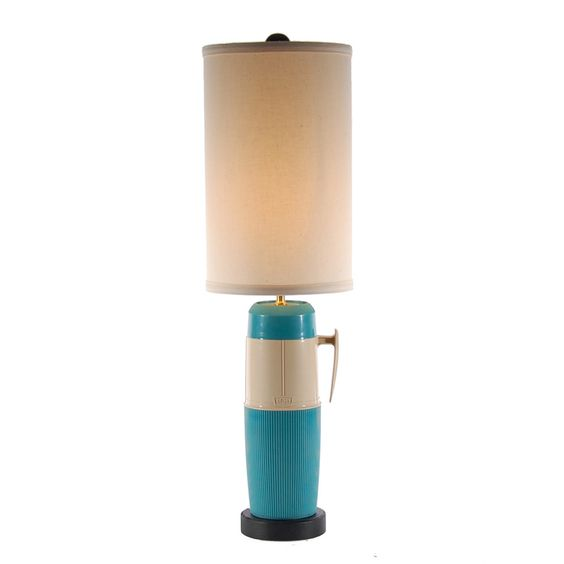 Vintage Turquoise Blue Thermos Lamp by LampStoreOriginals