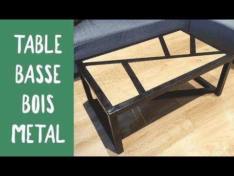 Bonjour A Tous Pour Ce Tutoriel Markersud Je Vous Propose De Fabriquer Une Table Basse Melangeant Deux Mat Table Basse Bois Metal Table Basse Bois Table Basse