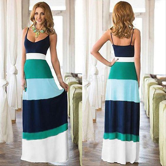 Details about Sexy Women Summer Boho Long Maxi Evening Party Dress ...