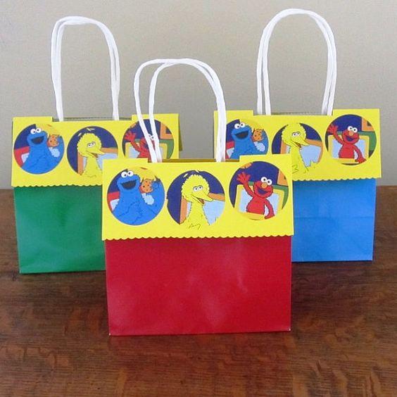 6 Sesame Street Gift Bag  Sesame Street Favor Bag by ItsInviting, $1.88